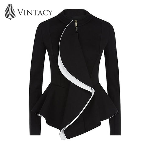Vintacy women jacket ruffles vintage black peplum coat