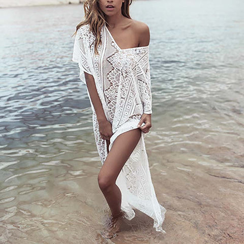 New Lace Beach Cover up Robe de Plage Bathing suit Long Lace Beach dress