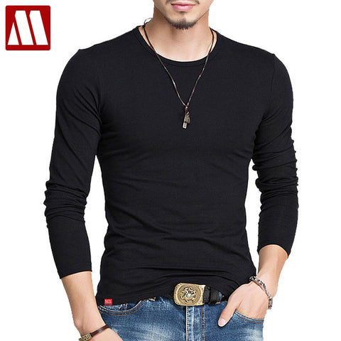 Men Brand Fashion Men's Label Stitching Design Tops & Tees T Shirts Men Long Sleeve Slim Tshirt Homme XXXXXL