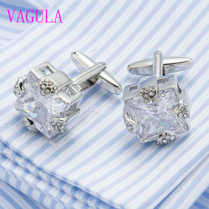Quality VAGULA Lawyer Groom Crystal Cuff links Luxury Cufflinks Wedding Gift Cuffs Gemelos De Alta Calidad 501