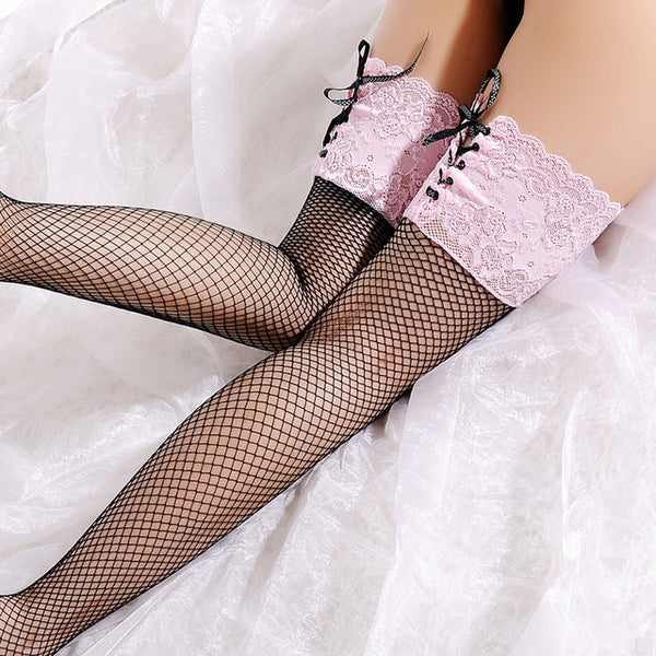 2017 New Sexy Fishnet Mesh Stockings for Women Fashion Over Knee Thigh High Sheer Stockings Straps Lace Top Detail