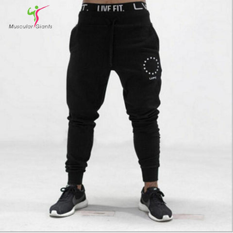 2017 LVFT Gyms pants joggers men Casual Elastic cotton Mens Fitness Workout Pants skinny Sweatpants Trousers Jogger Pants