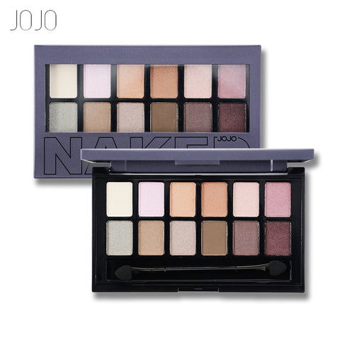 JOJO 12 Colors Eye Shadow Makeup Shimmer Matte Eyeshadow Palette Cosmetic Makeup Set Nude Eye Shadow