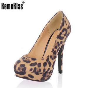 women pointed toe stiletto leopard high heel shoes  platform sexy Brand footwear fashion heeled heels shoes size 33-43 P23196