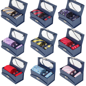 RBOCOTT Tie Set For Men Mens Jacquard Woven Tie & Handkerchief & Cufflinks & Gift Box Set Wedding Party Corbatas Classic Necktie