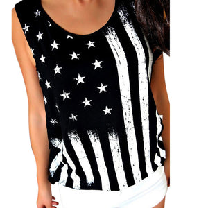 2017 New Arrival Women American Flag Print Tank Tops O Neck Sleeveless Crop Tops Vest Cotton Shirt Ladies Camis
