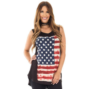 Flag Print Tank Tops Womens Sexy Sleeveless Tank Tops  2017 Summer T-Shirt  Camisa Social Feminina shirt casual top