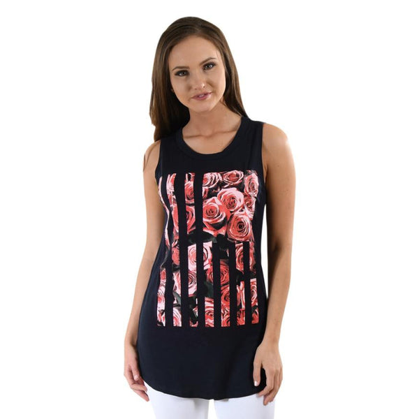 Rose Printing Tank Tops Summer Women Loose Pullover Sleeveless Tank Tops Vintage Tribal Print Fitness Casual Tank Top