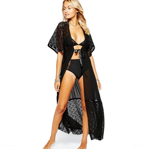 Black Lace Bikini Cover Up Women Loose Floor Length Beach Dress