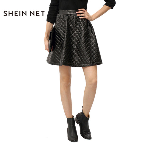 SHEINNET Solid Black Fashion Skirt Women High Waist Party Club Women A-line Skirt  Elegant Classic Slim Casual Mini Skirt