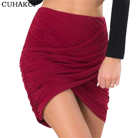 Red Skirts Women Draped Short Skirt Overlapping Bandage Bodycon Apparel For Clubwear Cross Fold Sexy Skirts D037