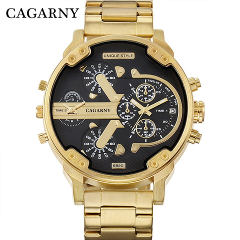 Men's Watches Fashion Quartz Wristwatches Cool Big Case Golden Steel