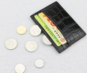 100% Genuine Pebble or Crocodile pattern Leather credit card holder Wallet