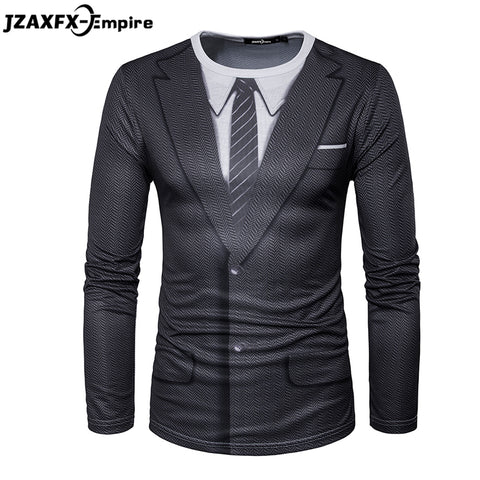 Men Long Sleeve Tee O Neck Male Print Fake Suit Shirt High Quality t shirt men brand clothing