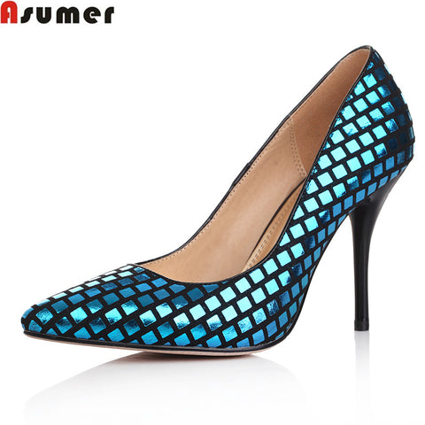 Asumer fashion glitter party shoes woman high quality genuine leather women pumps thin heels pointed toe slip-on big size 33-40