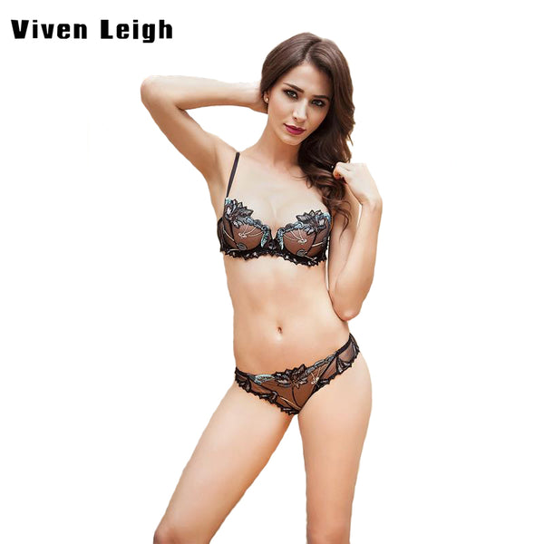 2017 Brand Transparent Perspective Push Up Embroidery Bra Set Lace Sexy Women Underwear Panty Set Lingerie Victoria Brief Sets