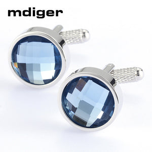 Mdiger Cufflinks New Brand Square Shape Cuff Button Blue Rhinestone Cuff link High Quality Shirt Cufflinks for Men HOT SALE