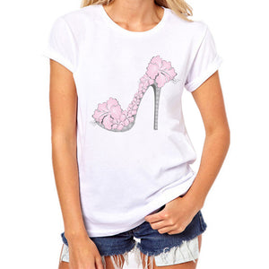 2017 Girls Women T Shirt  High heels Print Tees Shirt Short Sleeve Cotton T Shirt Blusa Tops Cotton O-Neck Tees Tops