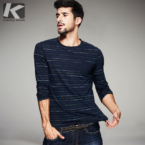 KUEGOU Autumn Mens Fashion 100% Cotton Blue Striped Color Pockets Brand Clothing Man's Long Sleeve Slim T-Shirts 9123