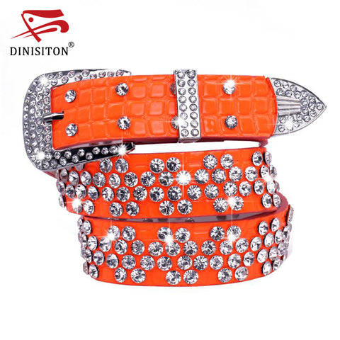 DINISITON New Brand New fashion Female leather belt female full of diamond drill wide belt Rhinestone belts cinto SZ001