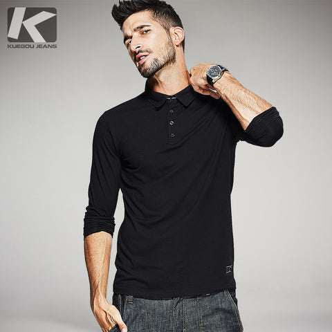KUEGOU 2017 Autumn Mens Casual Polo Shirts Black Blue Color Brand Clothing For Man's Long Sleeve Slim Fit Clothes Male Tops 894