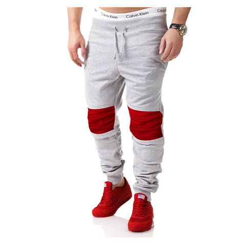 Midweight loose Stitching sweatpants Mens workout bodybuilding clothing casual skinny joggers cotton pants M-XXL