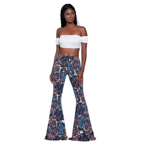 2017 Ladies Boho Trousers Fitness Clothing Women's Long Pants Casual Pattern Print Wide leg Bell Bottom Soft Flare Pants
