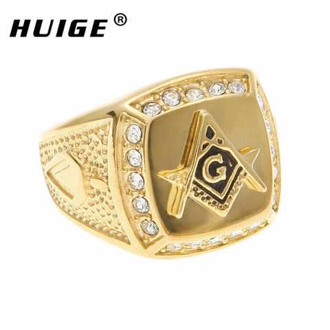 Stainless steel freemason ring wholesale Rhinestone ring Men Gold Masonic ring drop shipping ring jewelry
