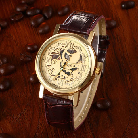 GENVIVIA Fashion Mens Brown PU Leather Band Watch quartz watches men Stainless Steel Gold mens watch hommes montres