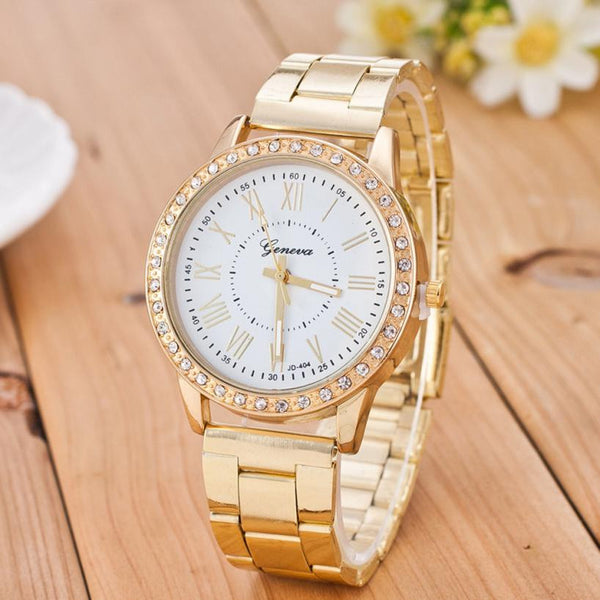 2017 Luxury Crystal Dress Watch Stainless Steel Gold Women Ladies Dress Watch Quartz Wrist Watches For Women