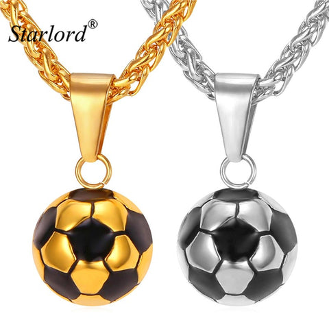 Starlord Football Soccer Pendant Necklaces Ball Enamel Jewelry Sporty Fashion Gold Color Stainless Steel Chain Men Bijoux GP2299