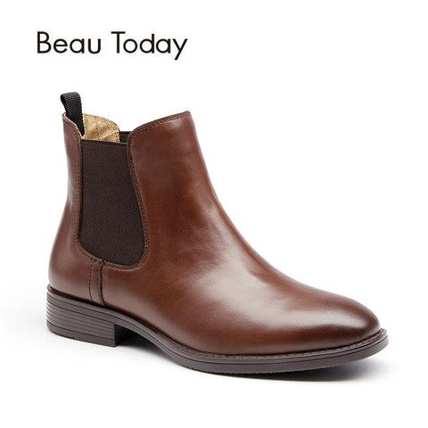 BeauToday Chelsea Boots for Women Genuine Leather Fashion Square Toe Elastic Ankle Length Calfskin Shoes with Box 03025 - All2Wear.com