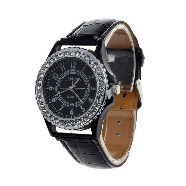 2017 Fashoin Crystal Mens Watch Unisex Bling Luxury Dress Watches For Men Women PU Leather Geneva Wristwatches