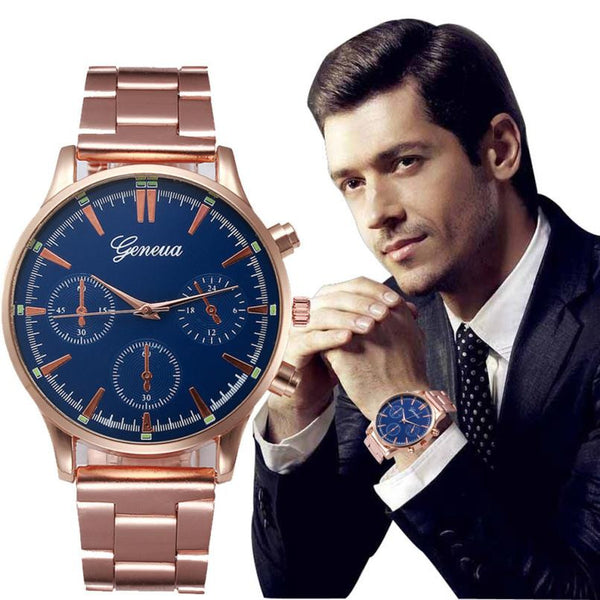 2017 Fashion Mens Watches Stainless Steel Blue Dial Analog Quartz Wrist Watches For Men Rose Glod Clock Montre Hommes