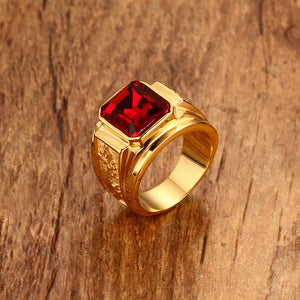 Gold Color Red Blue Stone Wedding Band Stainless Steel Engraved Dragon Fashion Men Signet Jewelry anel