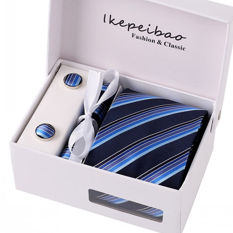 Ikepeibao Classic Blue Necktie Tie Set Handerchief Cufflinks Polyester Striped 8cm w Gift Box Packing for Mens formal business