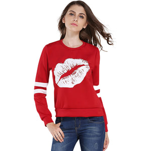 Women Clothes Sexy Lip Red Hoodies Sweatshirt Crop Top Tee Shirt Femme Basic Casual Vintage Retro Mujer Tunic LJ5326U