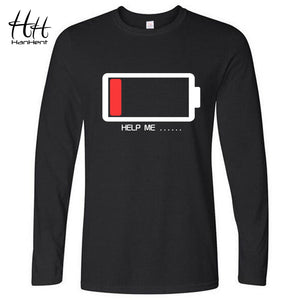 Funny HELP ME Energy Low Male Battery Long Sleeve O-neck Loose tee Basic Brand Clothing Man
