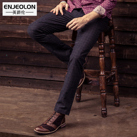Enjeolon brand 2017 new long trousers Straight casual pants man cotton fabric clothing Slim Causal Pants free ship K5015