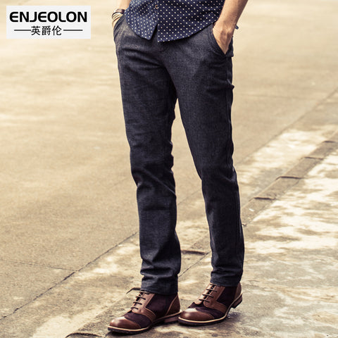 Enjeolon brand 2017 quality long trousers Straight casual pants man cotton fabric clothing Slim Causal Pants free ship K5009