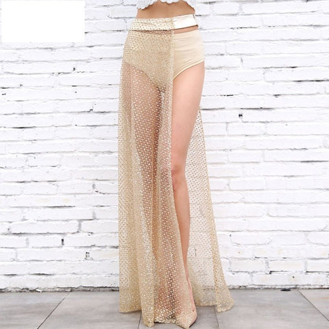 2017 New Summer Skirt Women Celebrity Party Sexy Club Night Out Long Skirt Split Sequined Women Silver Gold