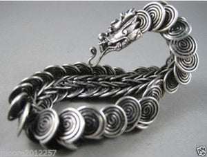 10X10 jewerly  Free shipping > hot Sell! Tibet silver Handcrafted dragon Head Men`s bracelet 8 inches