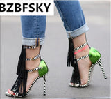 2017 Brand gladiator sandals women pumps faux suede tassel fringe strappy ankle strap sexy open toe striped high heel sandals