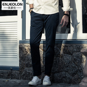 Enjeolon brand 2017 ankle length trousers khaki black solid straight pants men, top quality fashion males Causal clothes K6052