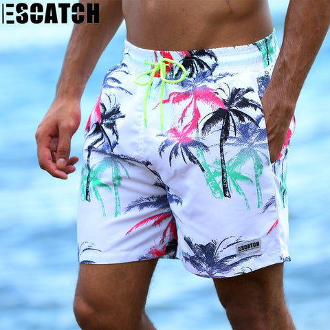 Escatch New Quick Dry Summer mens print Beach board shorts surf siwmwear bermudas swim shorts for Men Athletic mens gym shorts