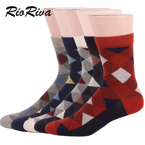 RioRiva Brand Men Formal Dress Socks Classic Diamond Square Argyle Combed Cotton Short Casual Tube Business Socks (5 Pairs)