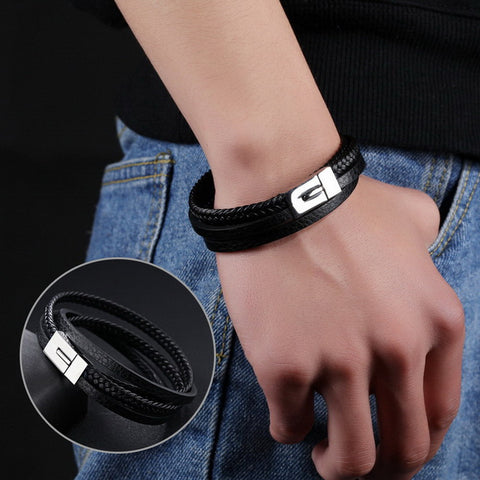Multiple layers PU Leather Bracelets For Men Punk Braided Wrist Wrap Braclet Casual Jewelry Gift