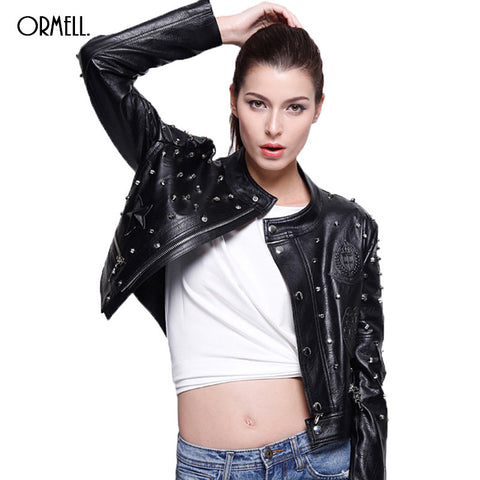 Black Rivet PU Leather Women Jacket Girls Fashion Slim Solid Winter Coat Ladies Casual Style Female Outwear