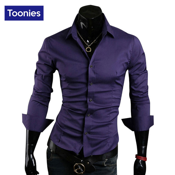 2017 New Slim Fit Shirt Long Sleeve Men's Shirts Casual Fitness Camisa Masculina Chemise Homme Camisa Social Mens Shirt Dress