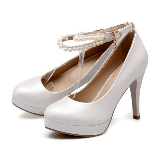 2017 new fashion high heels women pumps round toe bridal wedding shoes woman platform shoes Large size design